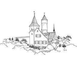 Middeleeuws kasteellandschap. Oude kasteeltoren die horizon bouwen