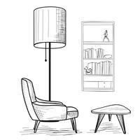 Woonkamer. Meubilair lezen: fauteuil, tafel, boekenplank.