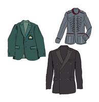 Mode stoffen set. Heren jas kleding. Mannelijke jas zakelijke kleding