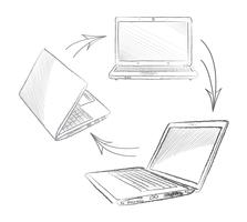 Laptop instellen Computers verbinding concept. Sociaal samenwerkingsverband