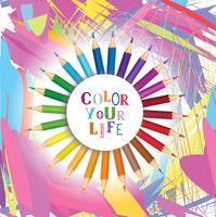 Kleur je leven achtergrond. Inspirerende motivatie citaat ontwerp