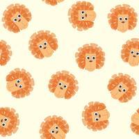 Cartoon dierlijke leeuw gehoord naadloze patroon. kind speelgoed tegel achtergrond vector
