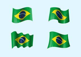 Realistische Vlaggen van Brazilië vector