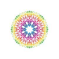 Sier rond bloemenpatroon. Oosterse mandala bloem ornament