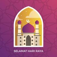 Moderne Selamat Hari Raya Eid Mubarak Groeten vector