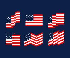 Amerikaanse vlag set vector