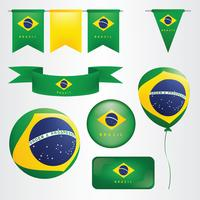 Vlag van Brazilië Clipart-pakket vector