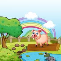 Een varken dat zich boven de boomstam met een schildpad bij de vijver bevindt