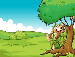Een heel gelukkige aap vector