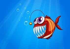 Een enge piranha onder de zee