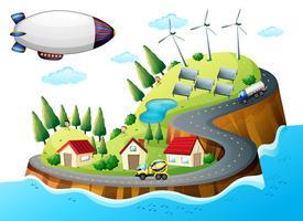 Een dorp met windmolens en een ruimteschip