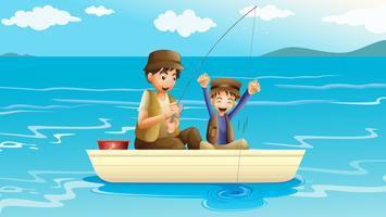 Een vader en een zoon vissen