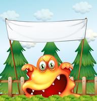 Een boos monster onder de lege banner