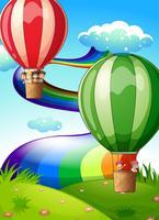 Drijvende ballonnen met kinderen