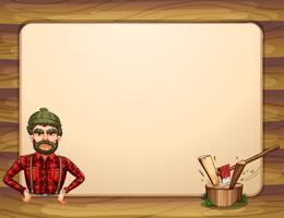 Een lege houten kadermalplaatje met een houthakker vector