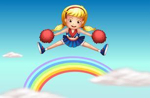 Een cheerer boven de regenboog