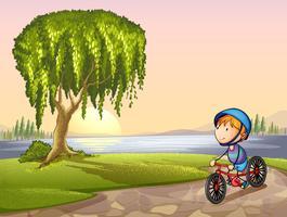 jongen in park vector