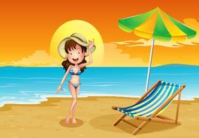 Een strand met een meisje vector
