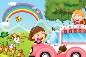 De roze ijsjesbus en de twee gelukkige meisjes vector