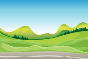 Een weg en een prachtig landschap vector