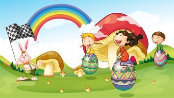 Een konijn en kinderen met paaseieren