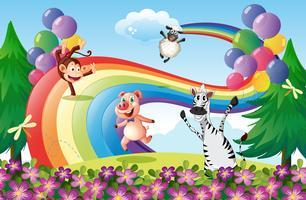 Dieren spelen op de heuveltop met een regenboog