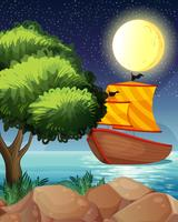 Een schip over de boom
