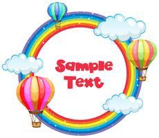Frame ontwerp met regenboog en ballonnen