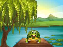 Een lachende schildpad langs de vijver