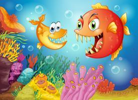 Twee vissen met grote hoektanden onder de zee
