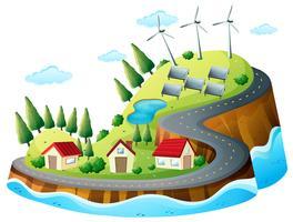 Huizen, vinnen en zonne-energie vector