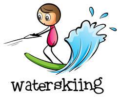 Een stickman waterskiën vector
