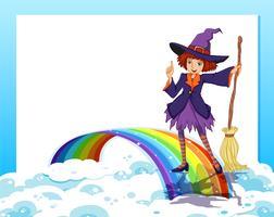 Een lege sjabloon met een fee en een regenboog vector