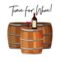 Wijnglas en fles op vaten