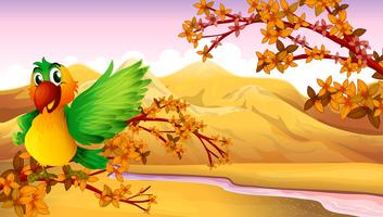 Een papegaai bij de boom dichtbij de rivier vector