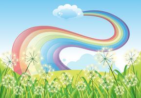 Een regenboog in de heldere blauwe lucht
