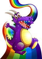 Een speelse paarse draak en een regenboog vector