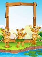 Grensontwerp met drie leeuwen bij de rivier