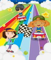 Een autorace op de kleurrijke weg