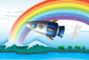 Een ruimteschip dichtbij de regenboog boven de oceaan vector