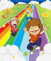 Gelukkige kinderen op de kleurrijke weg