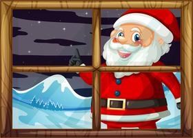 Een Kerstman die buiten het venster glimlacht vector