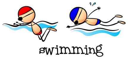 Twee jongens zwemmen