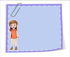 Een lege papieren sjabloon met een jong meisje glimlachend vector