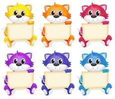 Een groep katten met lege uithangborden