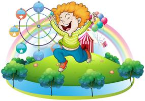 Een gelukkig kind op een eiland met een carnaval