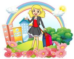 Een vrouw met papieren boodschappentassen