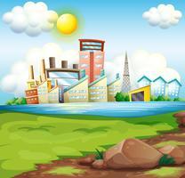 Fabrieken in de buurt van de rivier