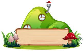 Magisch huis en houten banner