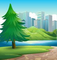 Een dennenboom naast de rivier over de hoge gebouwen